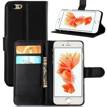 Black Leather Book Type Case Wallet Case for iPhone 6 / 6S