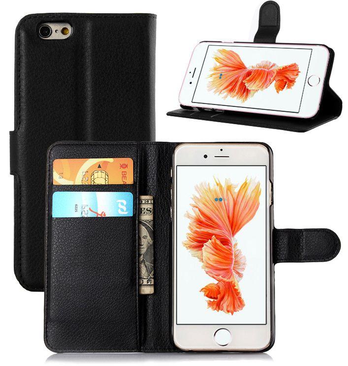 Zwart Leder Booktype Hoesje Wallet Case voor iPhone 6 / 6S