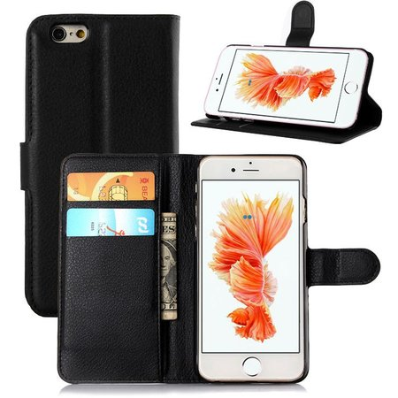 Geeek Black Leather Book Type Case Wallet Case for iPhone 6 / 6S Plus