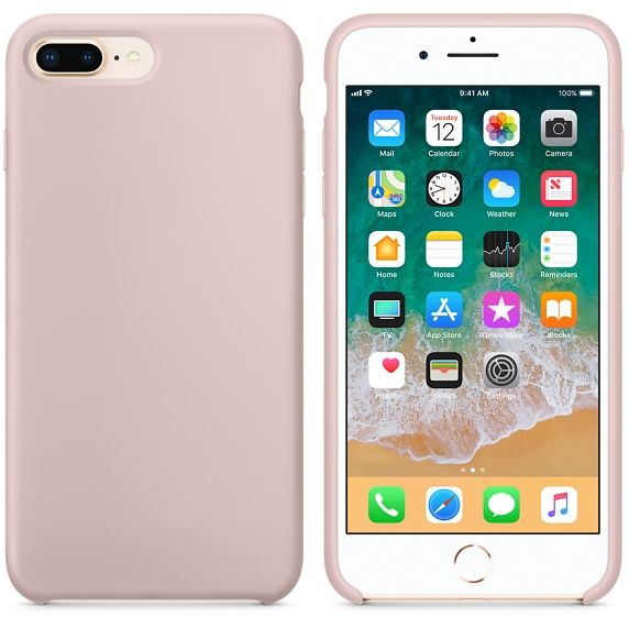 Hoogwaardige  Silicone Case / Cover / Hoes voor iPhone 8 Plus / 7 Plus Lichtroze (Pink Sand)