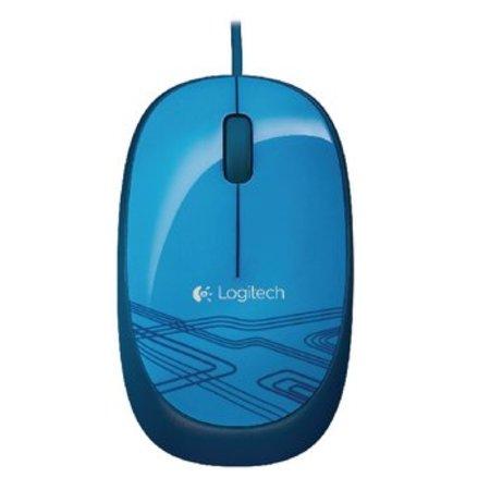 Logitech Bedrade Muis Bureaumodel 3 Knoppen Blauw