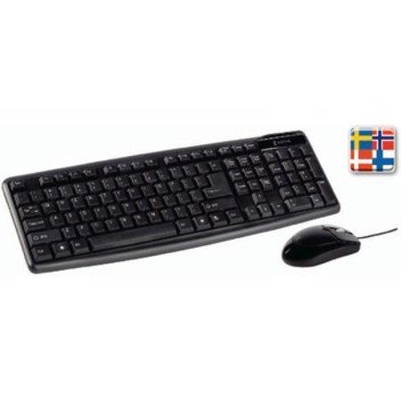 König Bedrade Muis en Keyboard Standaard USB Scandinavisch Zwart
