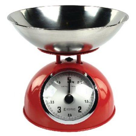 König Kitchen scale Red / Silver Analog