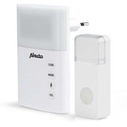 Alecto Plug-in Wireless Türklingel Set 220V 36 Melodien / LED-Anzeige Weiß
