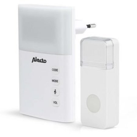 Alecto Plug-in Draadloze Deurbel Set 220V 36 Melodieën / LED-Indicator Wit