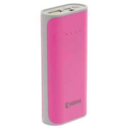 König Draagbare Powerbank Lithium-Ion 5000 mAh USB Roze