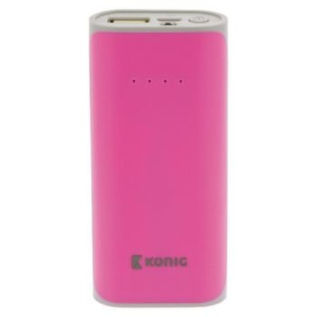 König Tragbare Powerbank 5000 mAh USB Pink