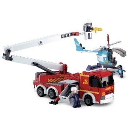 Sluban Bouwstenen Fire Serie Telescopisch Platform met Helikopter