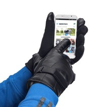 Gloves for Smartphone / Touchscreen - Leatherette - Black