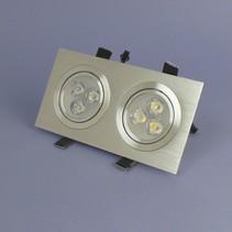 Dubbele LED Inbouwspot 3 Watt Warm Wit Dimbaar