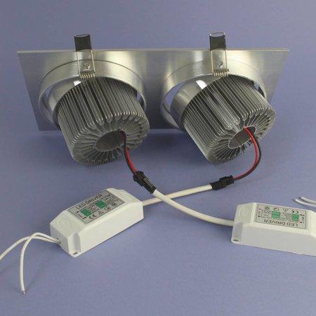 Geeek Dubbele LED Inbouwspot 12 Watt Warm Wit Dimbaar