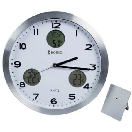 König Weather Station / Wall Clock Indoor and Outdoor White / Silver