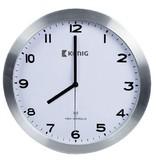 König Transmitter controlled wall clock 30 cm Analog Silver / White