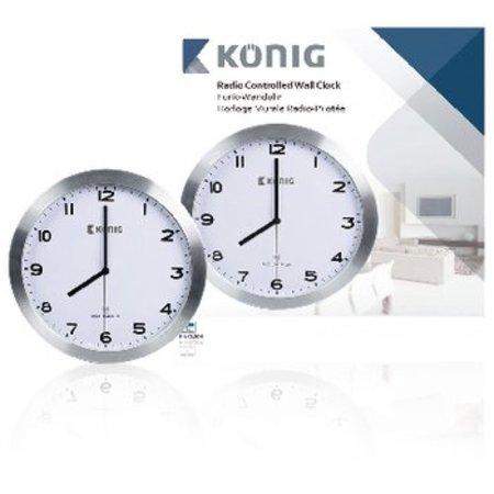 König Zendergestuurde Wandklok 30 cm Analoog Zilver/Wit
