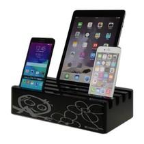 Kram Charge Pit Black met Poul Pava Print  6 poort USB Laadstation Zwart