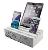 Kram Kram Charge Pit White met Poul Pava Print - 6 poort USB Laadstation Wit