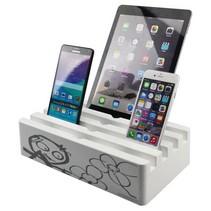 Kram Charge Pit White met Poul Pava Print - 6 poort USB Laadstation Wit