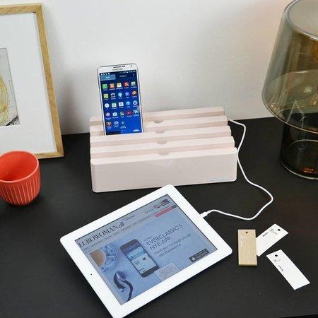 Kram Kram Charge Pit Tea Rose - USB-Ladestation mit 6 Anschlüssen Pink