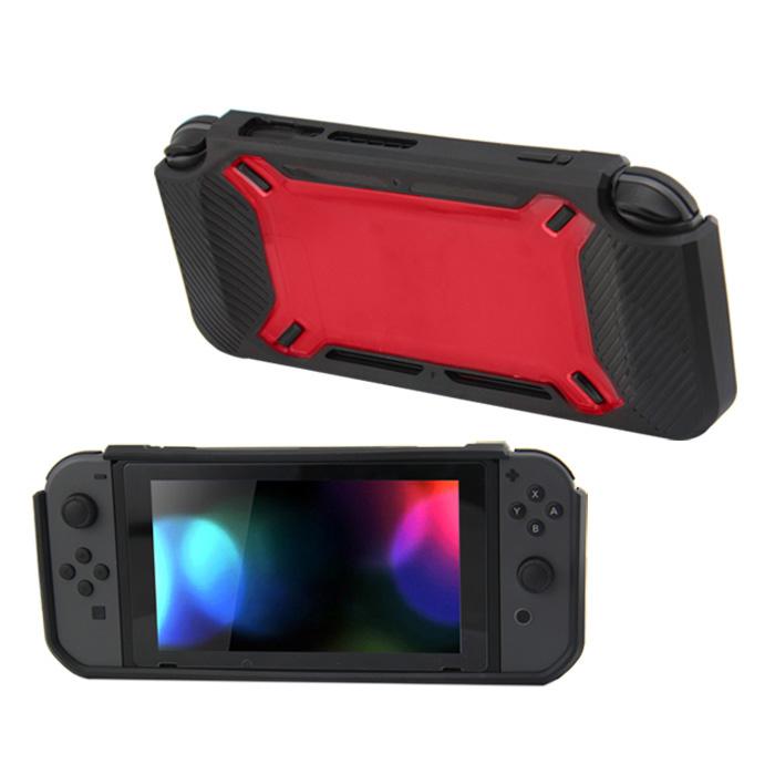 Hard Case Cover voor Nintendo Switch Beschermhoes - Rubber Touch Zwart -Rood