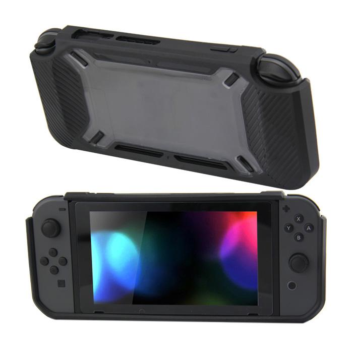 Hard Case Cover voor Nintendo Switch Beschermhoes - Rubber Touch Zwart - Grijs