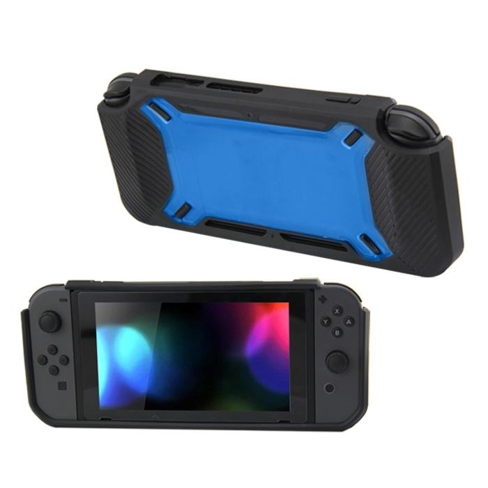 Hard Case Cover voor Nintendo Switch Beschermhoes - Rubber Touch Zwart -Blauw