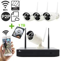 Funk WiFi Full HD Überwachungskameraset mit 4 Außenkameras inkl. 1 TB Festplatte