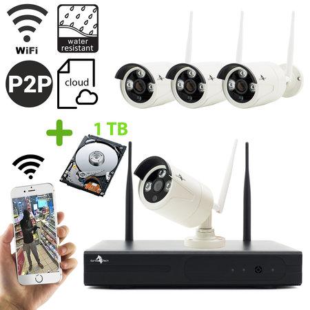 Geeek Funk WiFi Full HD Überwachungskameraset mit 4 Außenkameras inkl. 1 TB Festplatte