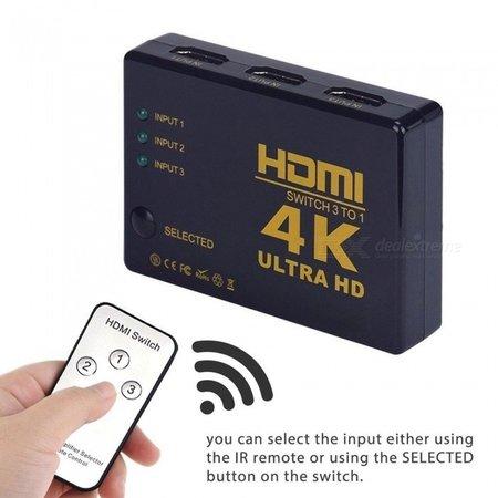 Geeek HDMI Switch 3 Poorts met Afstandsbediening Ultra HD 4K 3D