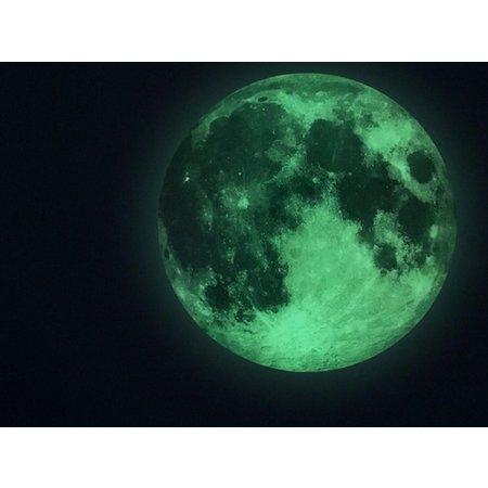 Muursticker Glow In The Dark Maan 20cm - Maansticker