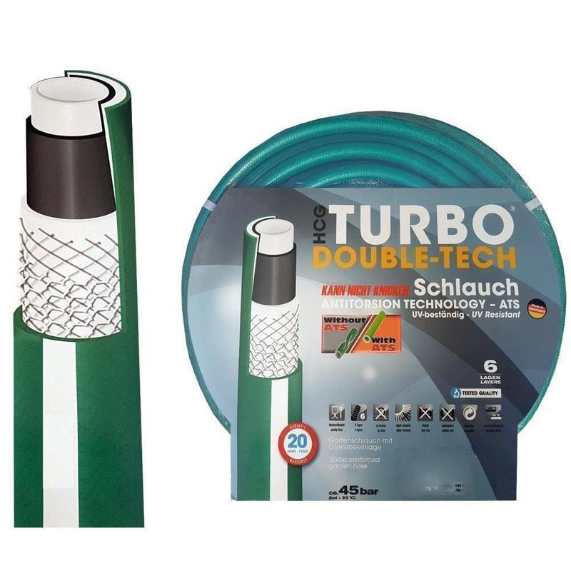 Turbo-Double-Tech® Tuinslang / Waterslang Ø 3/4? / 19mm - 6-lagen - Anti Torsie Systeem 50 meter