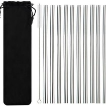 Metal Stainless Steel Drinking Straws Set 10 pieces - Reusable including Cleaning brush