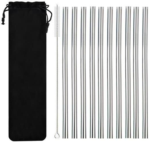 Denk aan het milieu en stop met het gebruik van plastic'single use'wegwerp rietjes. deze set met 10 ...