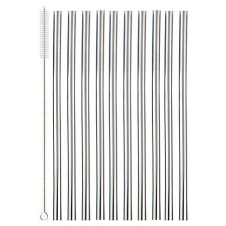 Geeek Metal Stainless Steel Drinking Straws Set 10 pieces - Reusable including Cleaning brush