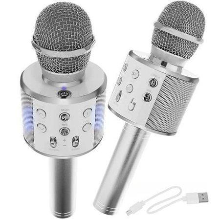 Drahtloses Karaoke-Mikrofon Drahtlos mit Bluetooth-Lautsprecher Silber