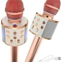 Draadloze Karaoke Microfoon Draadloos met Speaker Bluetooth Rosé Goud