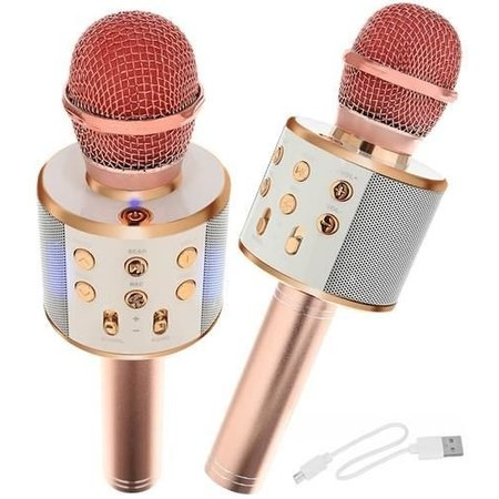 Drahtloses Karaoke-Mikrofon Drahtlos mit Bluetooth-Lautsprecher Rosé Gold