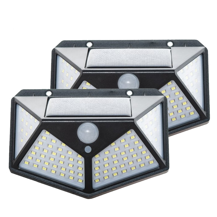 Solar Sensor Light - Buitenlamp met Bewegingssensor - 100 LEDs - Wit Licht 2 stuks