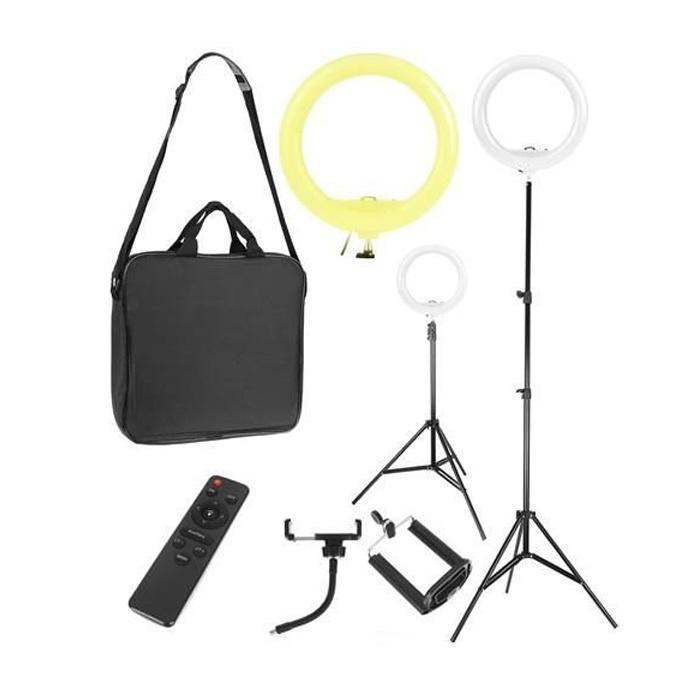 LED Ring Lamp - Selfie Lamp - 30W - Statief, Houder en Afstandsbediening | Make-up Lamp | Vlog | Mob