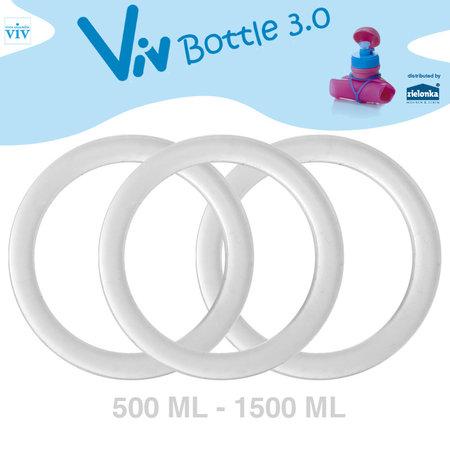 Set (3 stuks) Afsluitringen voor 500 tot 1500 ml Viv Bottle 3.0 - Reserveonderdeel