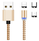 3-in-1 Magnetic Charging Cable - Magnet with Lightning / Micro-USB / USB-C adapter - 360 degrees