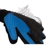 Vachtverzorgingshandschoen kat en hond - zwart en blauw- Rechtshandig