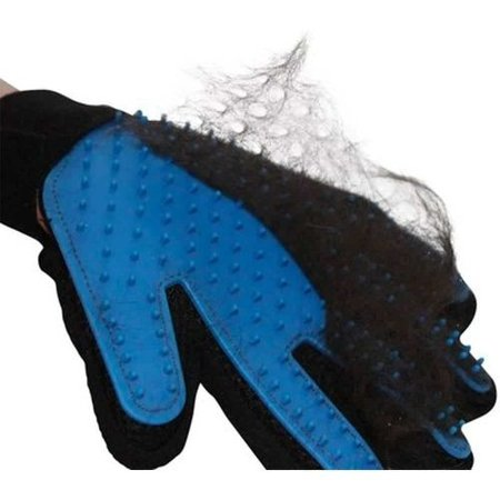 Coat grooming glove cat and dog - black and blue - Right-handed