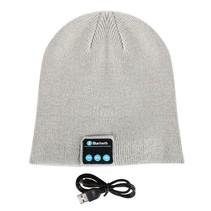Bluetooth Headset Beanie Light Grey