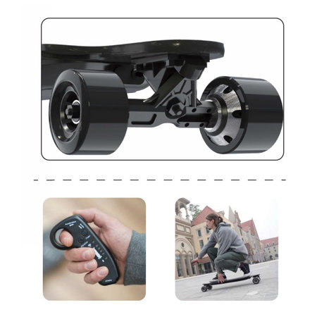 Electric Longboard - Skateboard - Leopard Black - 400W - with remote control