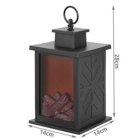 LED Haard Lantaarn Vuurlamp Sfeerverlichting Kerst 28 cm