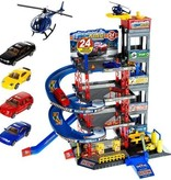 Parking garage- Children's toys- 4 floors-Cars and helicopter
