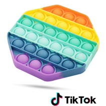 Pop it Fidget Toy -  Known from TikTok - Hexagon - Rainbow