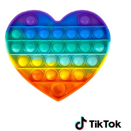 Pop it Fidget Toy- Known from TikTok - Heart- Rainbow