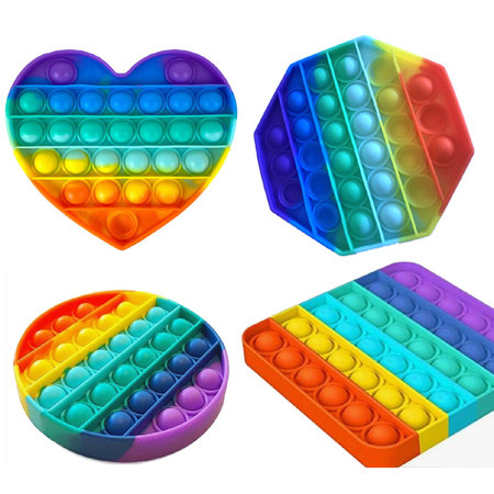 Pop it Fidget Toy Rainbow - Set with 4 variants - Known from TikTok