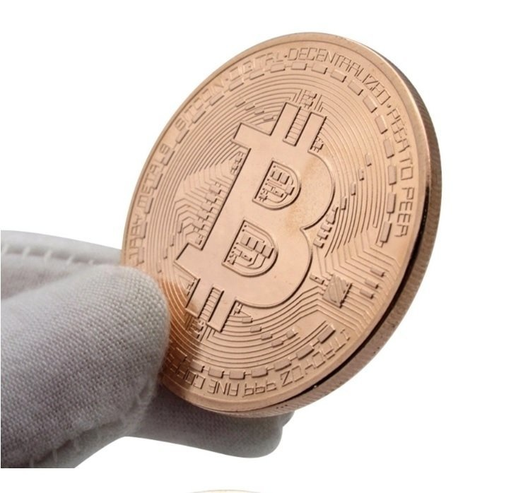 Bitcoin (BTC) Münze aus Metall, vergoldet (Echt-Gold überzogen)